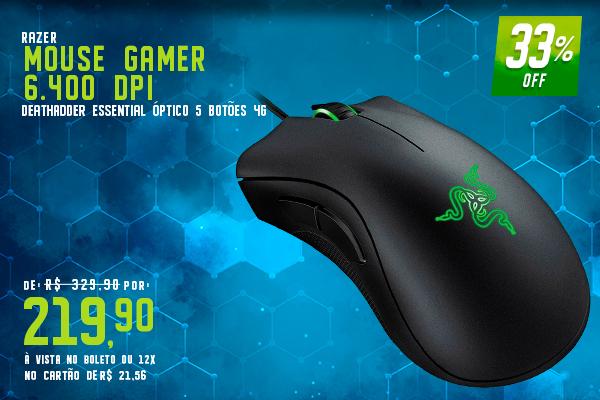 Mouse Gamer Razer Deathadder Essential Óptico 5 Botões 4G 6.400 DPI