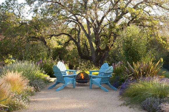 Firepit with blue chairs