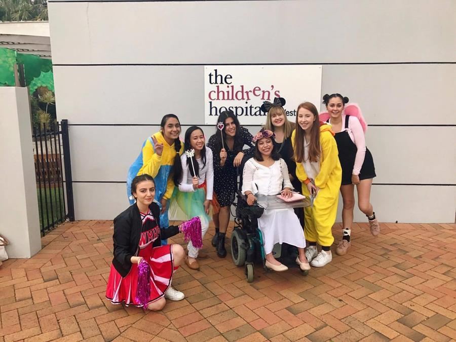 Students dressed in colourful costumes at the 2017 Westmead Children's Hospital visit.