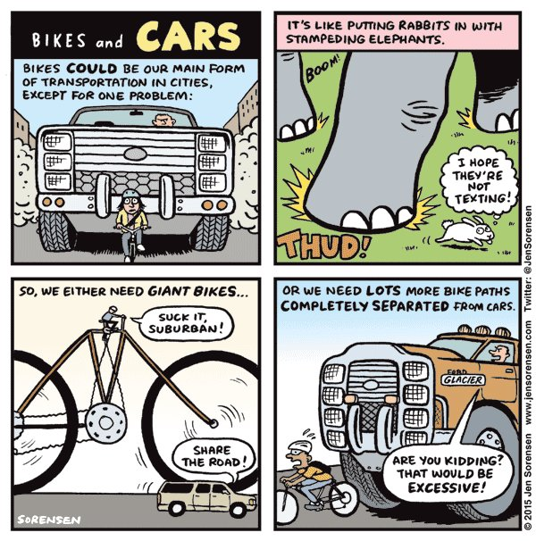 Cartoon on bikes and cars sharing the road.