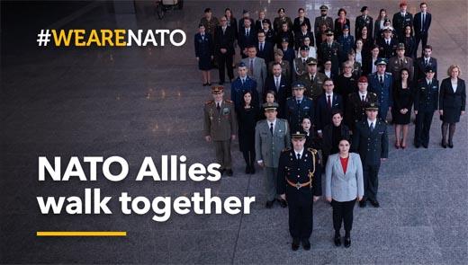 NATO Allies walk together - NATO's 70th anniversary